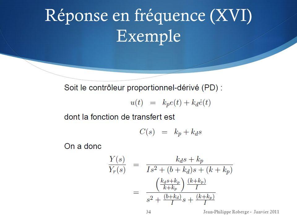 Réponse en fréquence (XVI) Exemple 34Jean-Philippe Roberge - Janvier 2011