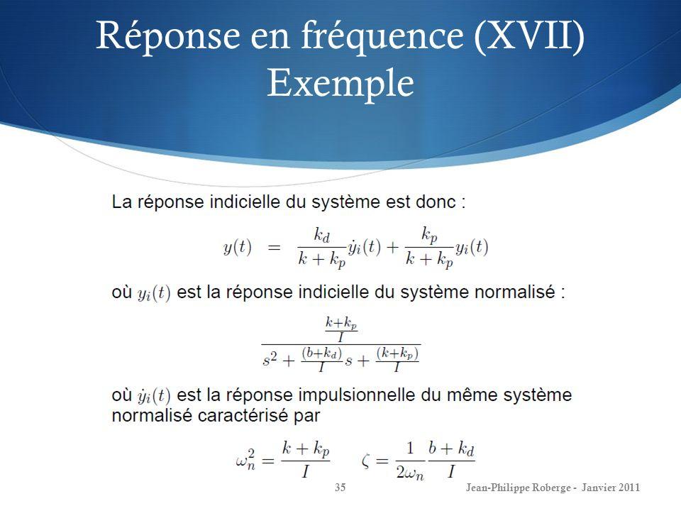 Réponse en fréquence (XVII) Exemple 35Jean-Philippe Roberge - Janvier 2011