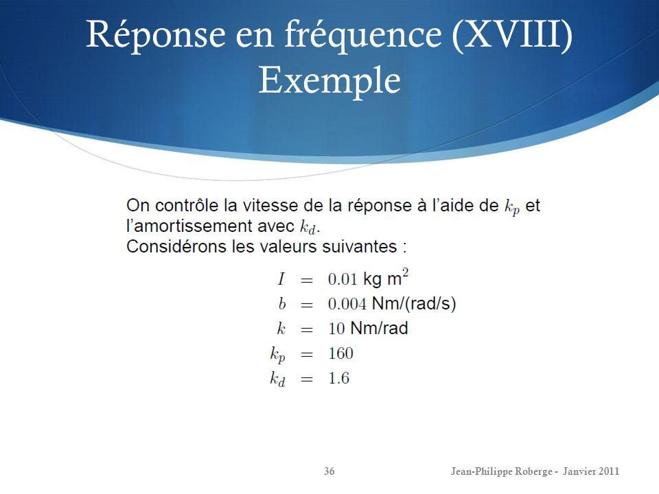 Réponse en fréquence (XVIII) Exemple 36Jean-Philippe Roberge - Janvier 2011