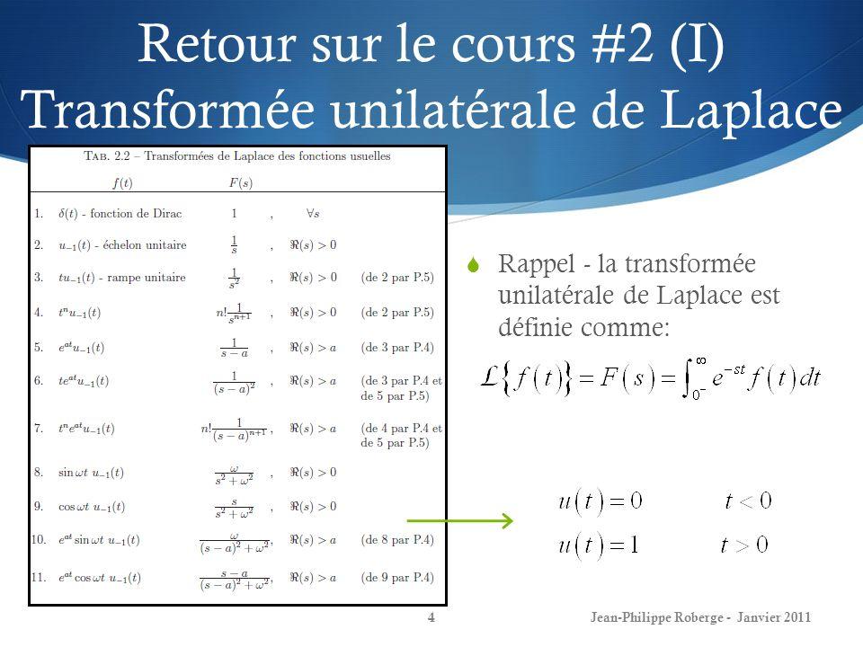 Retour sur le cours #2 (I) Transformée unilatérale de Laplace 4 Rappel - la transformée unilatérale de Laplace est définie comme: Jean-Philippe Roberg