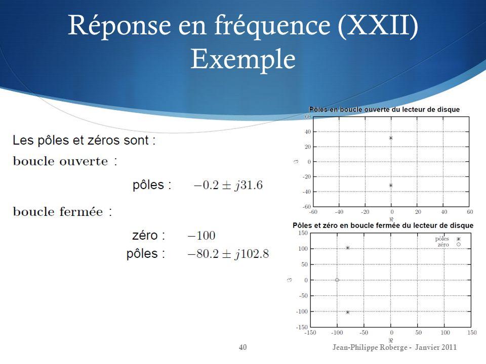 Réponse en fréquence (XXII) Exemple 40Jean-Philippe Roberge - Janvier 2011