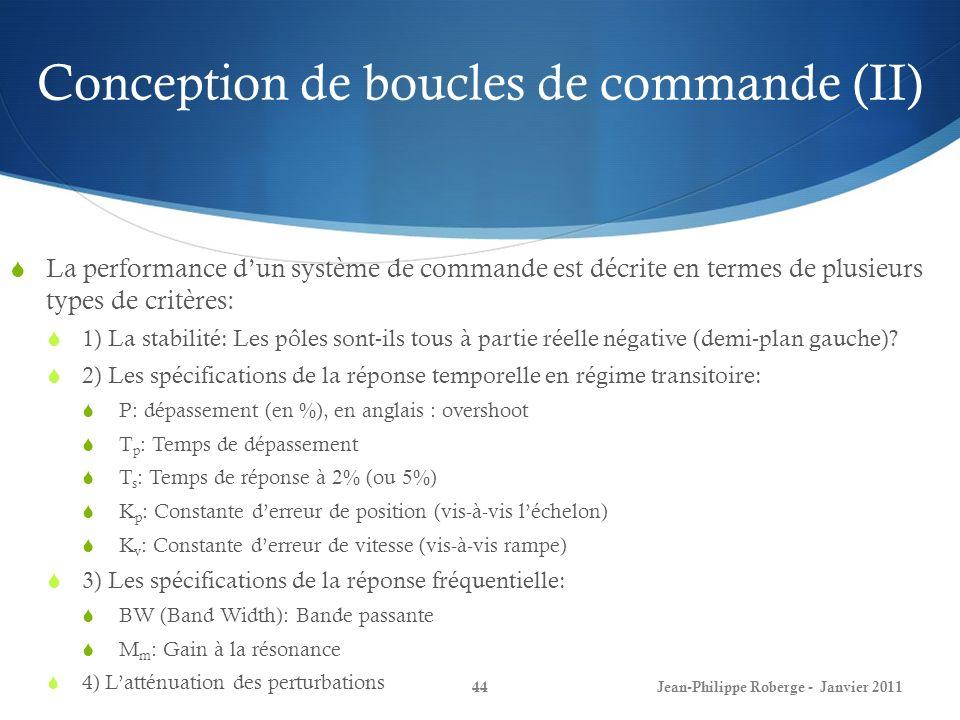 Conception de boucles de commande (II) 44Jean-Philippe Roberge - Janvier 2011 La performance dun système de commande est décrite en termes de plusieur