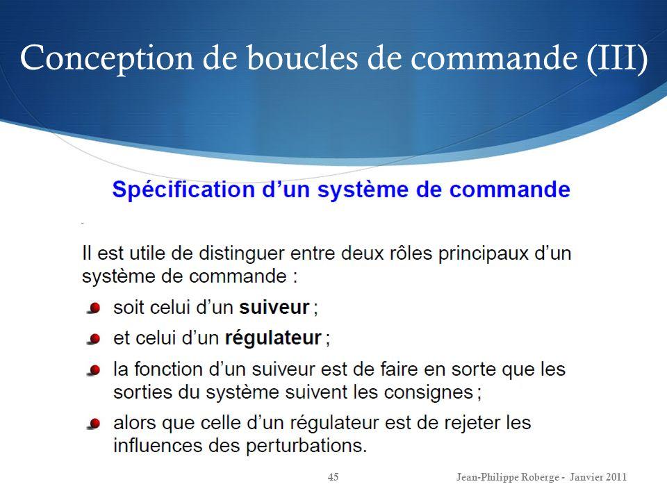 Conception de boucles de commande (III) 45Jean-Philippe Roberge - Janvier 2011