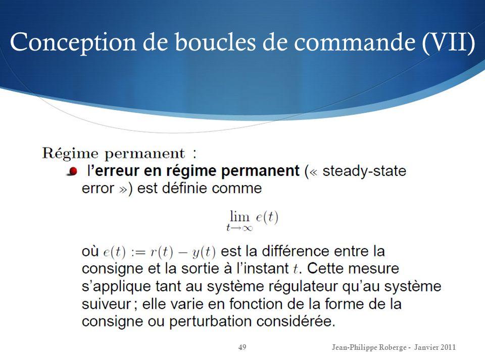 Conception de boucles de commande (VII) 49Jean-Philippe Roberge - Janvier 2011