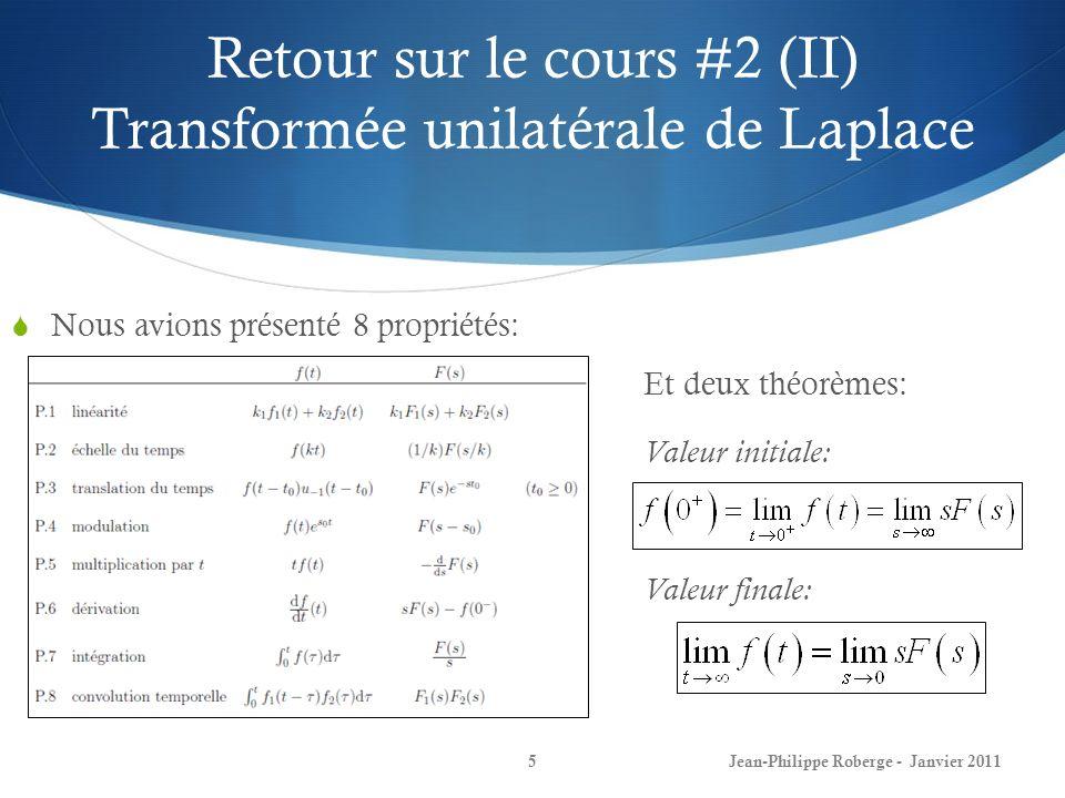 Retour sur le cours #2 (II) Transformée unilatérale de Laplace 5Jean-Philippe Roberge - Janvier 2011 Nous avions présenté 8 propriétés: Et deux théorè