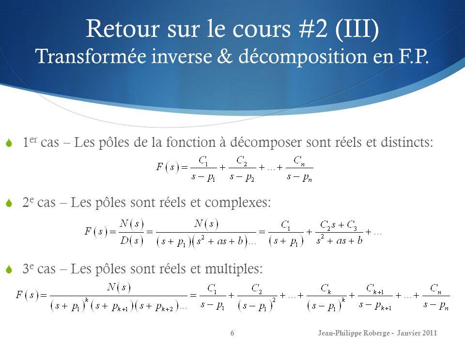 Retour sur le cours #2 (III) Transformée inverse & décomposition en F.P. 6Jean-Philippe Roberge - Janvier 2011 1 er cas – Les pôles de la fonction à d