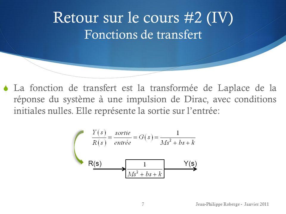 Retour sur le cours #2 (IV) Fonctions de transfert 7Jean-Philippe Roberge - Janvier 2011 La fonction de transfert est la transformée de Laplace de la