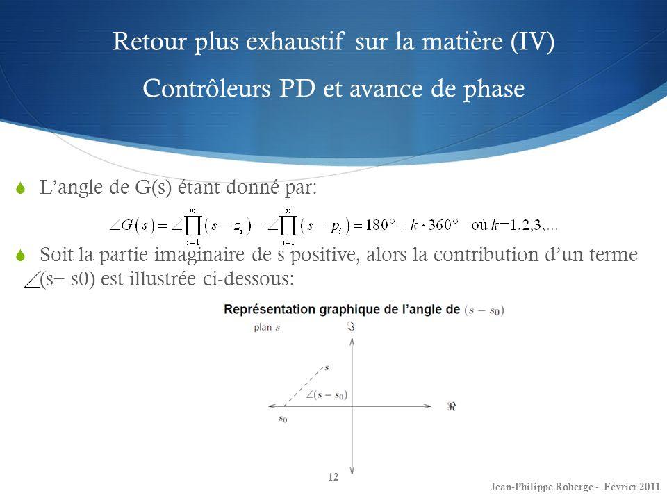 Retour plus exhaustif sur la matière (IV) Contrôleurs PD et avance de phase 12 Jean-Philippe Roberge - Février 2011 Langle de G(s) étant donné par: So