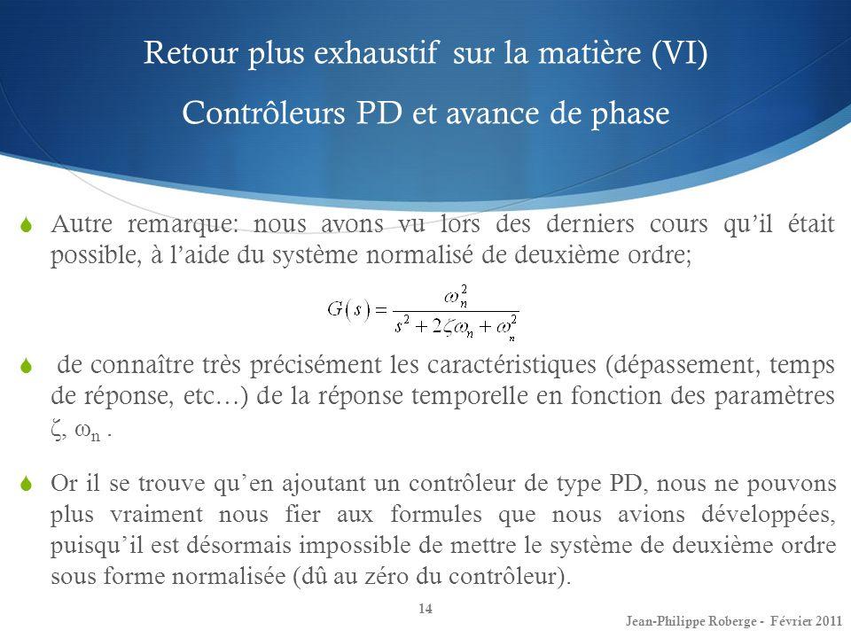 Retour plus exhaustif sur la matière (VI) Contrôleurs PD et avance de phase 14 Jean-Philippe Roberge - Février 2011 Autre remarque: nous avons vu lors
