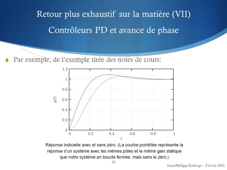 Retour plus exhaustif sur la matière (VII) Contrôleurs PD et avance de phase 15 Jean-Philippe Roberge - Février 2011 Par exemple, de lexemple tirée de