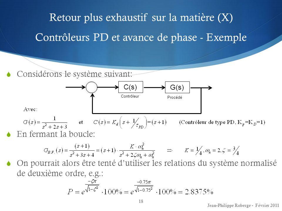 Retour plus exhaustif sur la matière (X) Contrôleurs PD et avance de phase - Exemple 18 Jean-Philippe Roberge - Février 2011 Considérons le système su