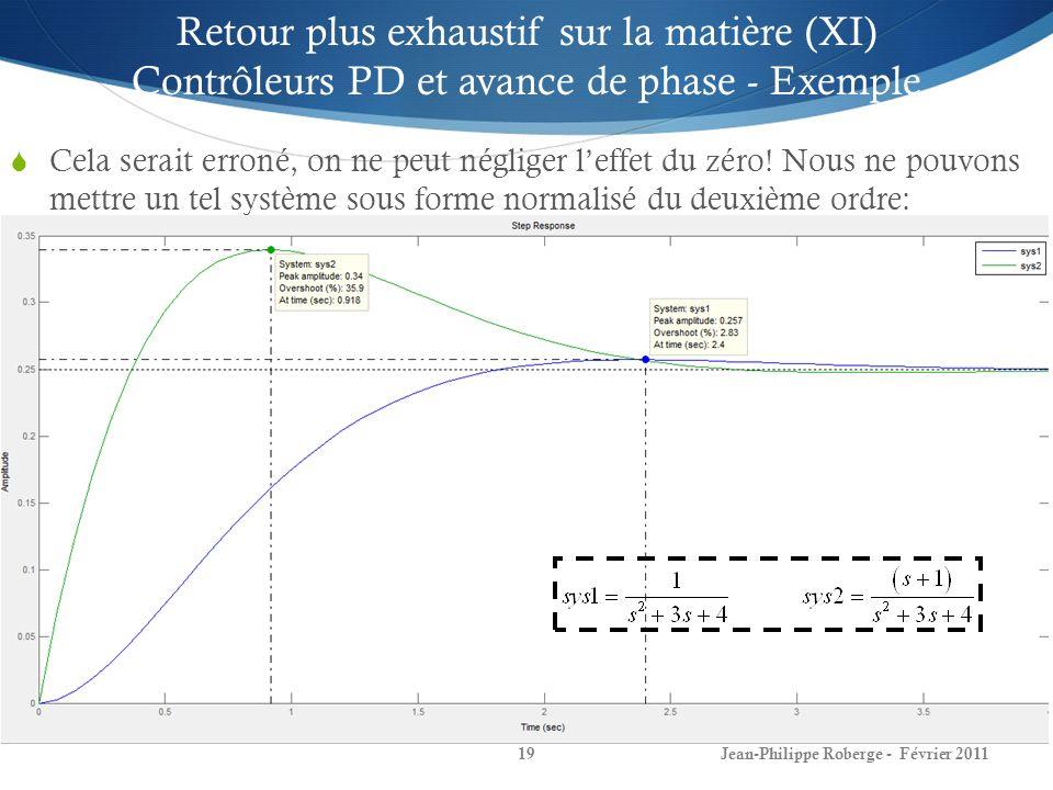 Jean-Philippe Roberge - Février 201119 Cela serait erroné, on ne peut négliger leffet du zéro! Nous ne pouvons mettre un tel système sous forme normal