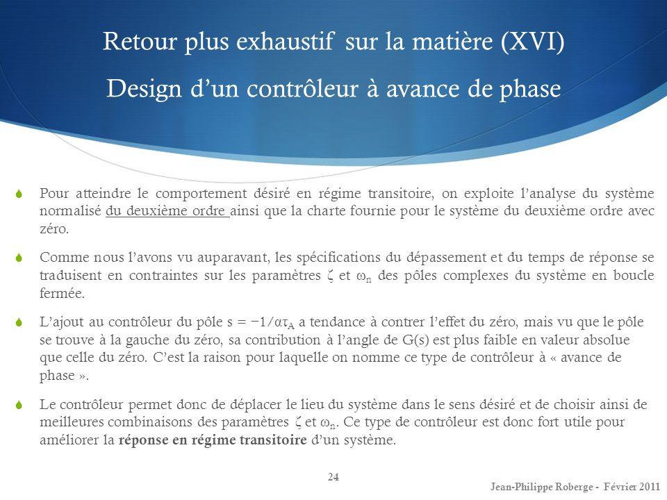 Retour plus exhaustif sur la matière (XVI) Design dun contrôleur à avance de phase 24 Jean-Philippe Roberge - Février 2011 Pour atteindre le comportem