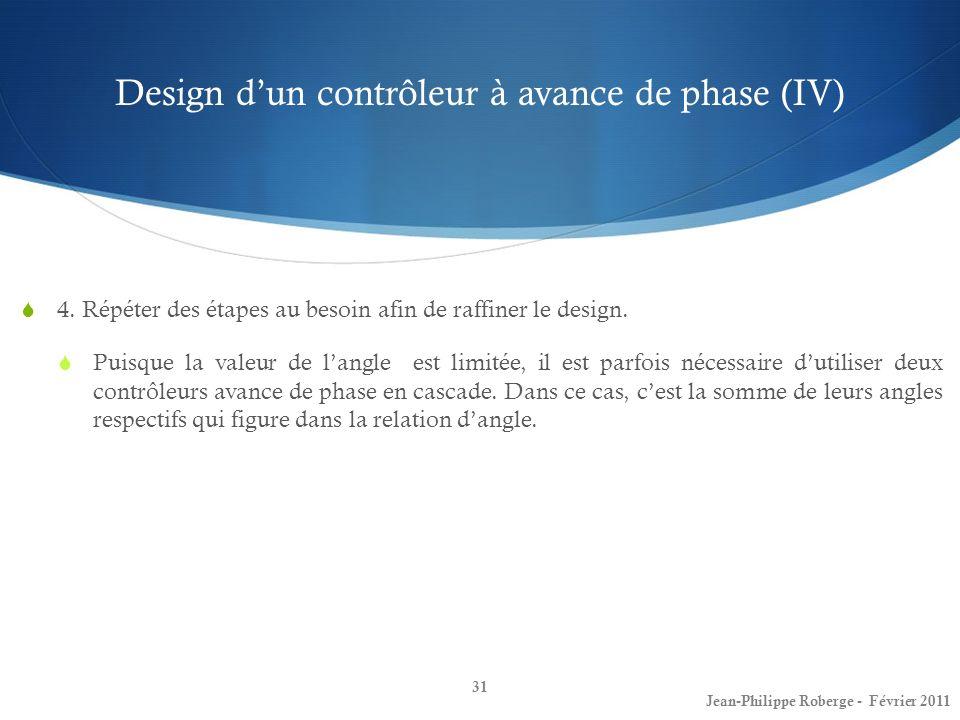 Design dun contrôleur à avance de phase (IV) 31 Jean-Philippe Roberge - Février 2011 4. Répéter des étapes au besoin afin de raffiner le design. Puisq