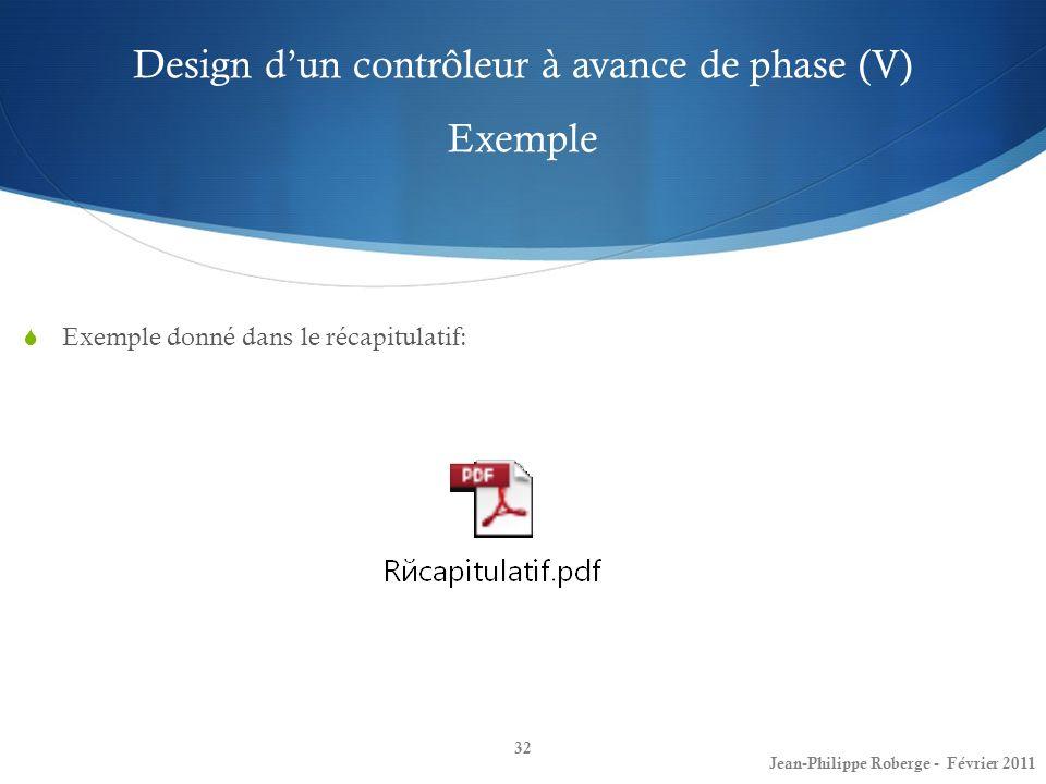 Design dun contrôleur à avance de phase (V) Exemple 32 Jean-Philippe Roberge - Février 2011 Exemple donné dans le récapitulatif: