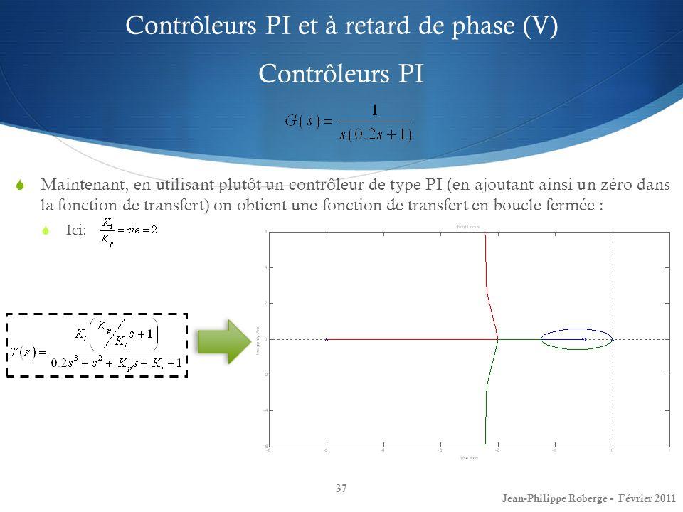Contrôleurs PI et à retard de phase (V) Contrôleurs PI 37 Jean-Philippe Roberge - Février 2011 Maintenant, en utilisant plutôt un contrôleur de type P