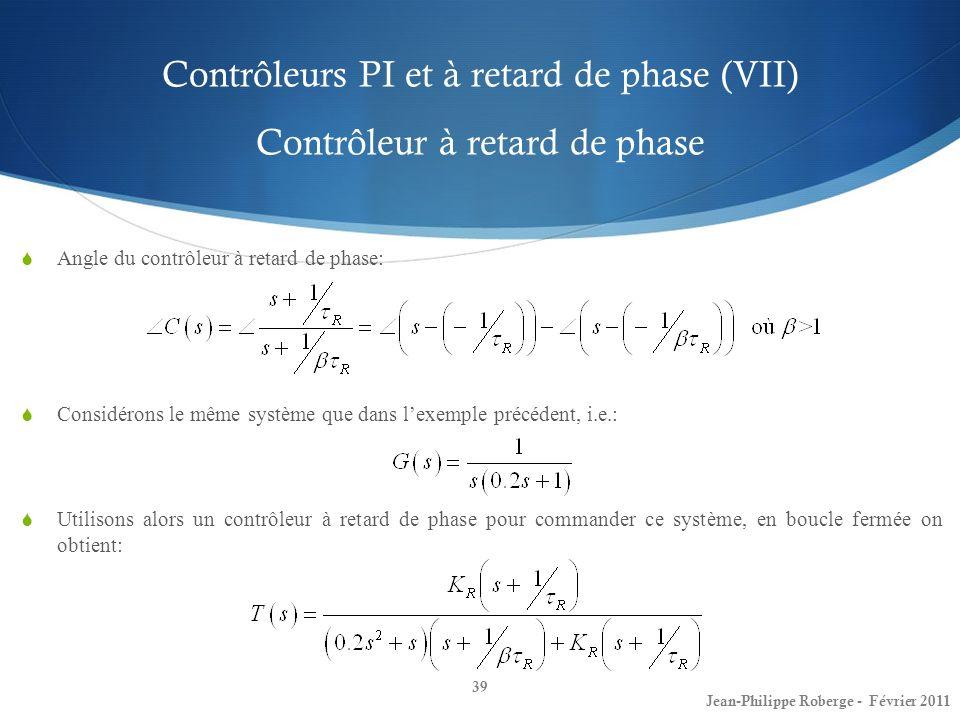 Contrôleurs PI et à retard de phase (VII) Contrôleur à retard de phase 39 Jean-Philippe Roberge - Février 2011 Angle du contrôleur à retard de phase: