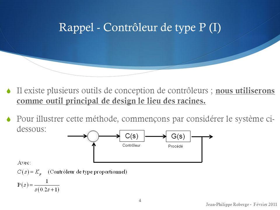 Contrôleurs PI et à retard de phase (III) Contrôleurs PI 35 Jean-Philippe Roberge - Février 2011 Une des façons denrayer ce problème est dajouter non seulement le pôle de lintégrateur mais en même temps un zéro.
