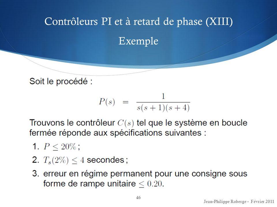Contrôleurs PI et à retard de phase (XIII) Exemple 46 Jean-Philippe Roberge - Février 2011