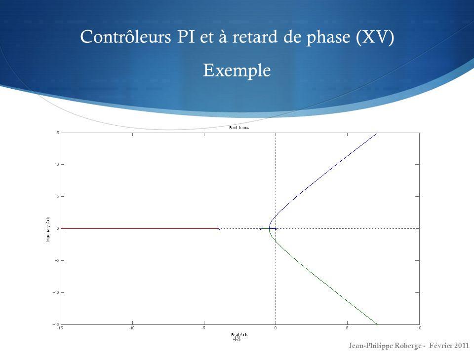 Contrôleurs PI et à retard de phase (XV) Exemple 48 Jean-Philippe Roberge - Février 2011
