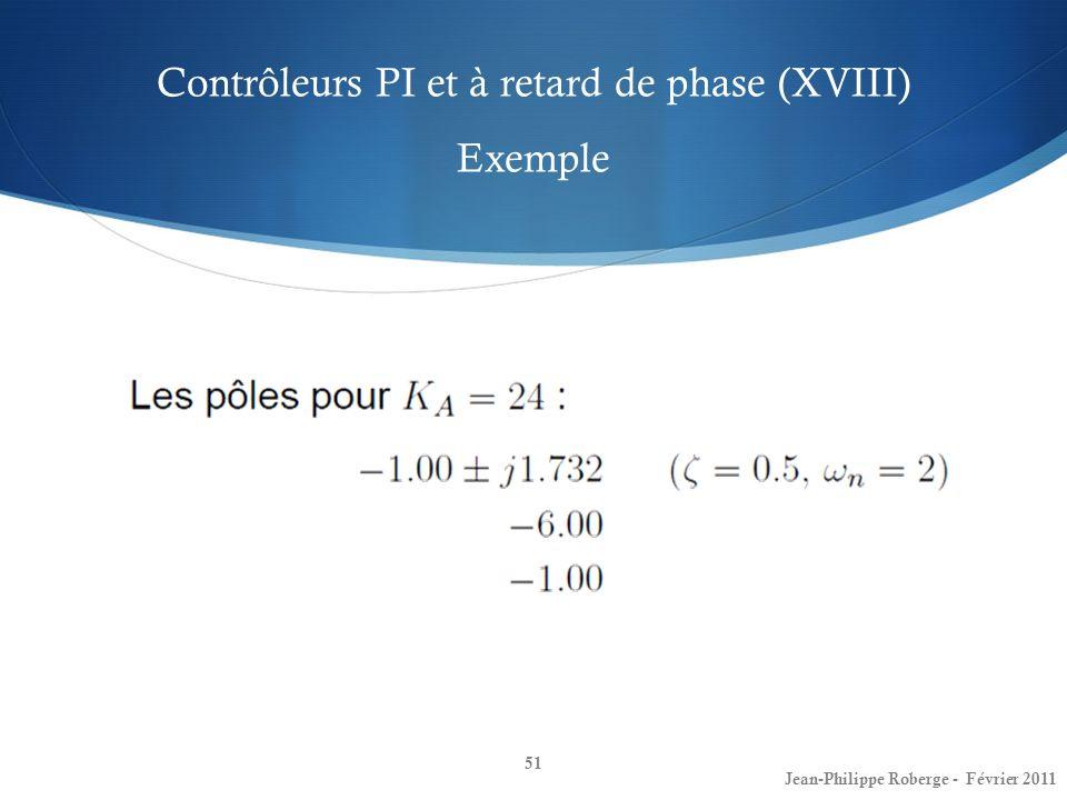 Contrôleurs PI et à retard de phase (XVIII) Exemple 51 Jean-Philippe Roberge - Février 2011
