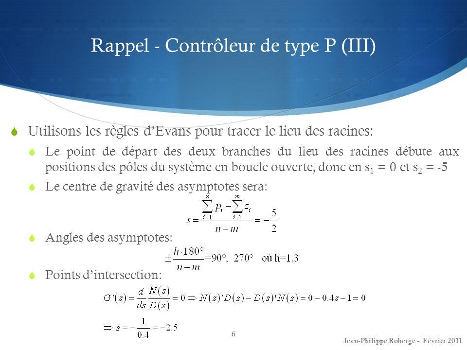 Contrôleurs PI et à retard de phase (V) Contrôleurs PI 37 Jean-Philippe Roberge - Février 2011 Maintenant, en utilisant plutôt un contrôleur de type PI (en ajoutant ainsi un zéro dans la fonction de transfert) on obtient une fonction de transfert en boucle fermée : Ici: