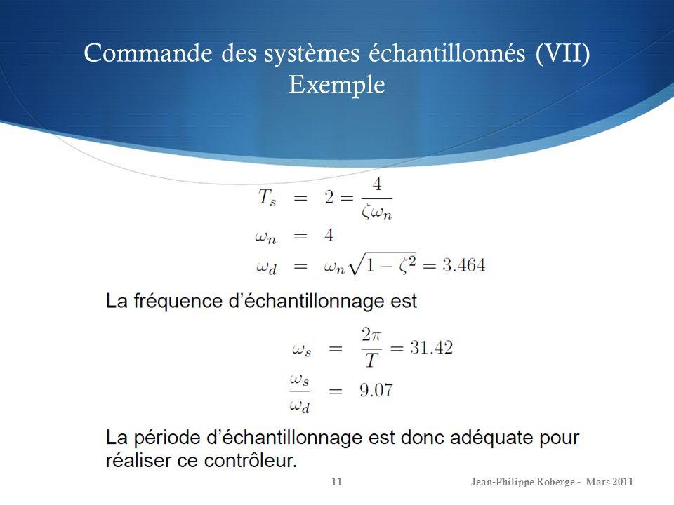 Commande des systèmes échantillonnés (VII) Exemple Jean-Philippe Roberge - Mars 201111