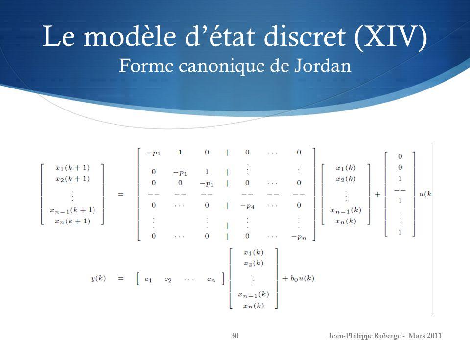 Le modèle détat discret (XIV) Forme canonique de Jordan Jean-Philippe Roberge - Mars 201130