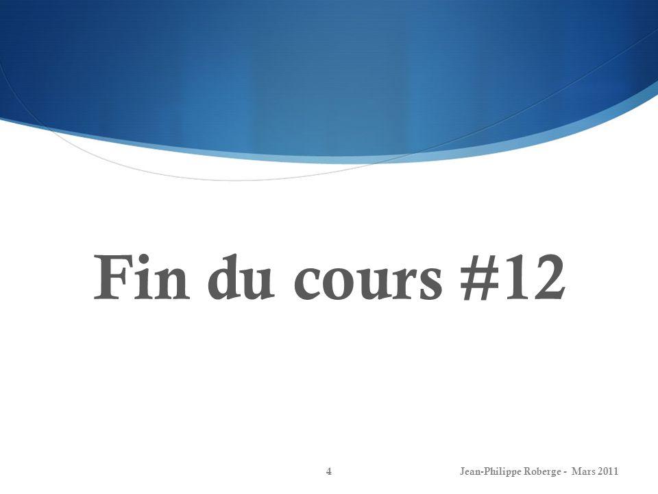 Le modèle détat discret (XXIX) Régulation par placement de pôles Jean-Philippe Roberge - Mars 201145