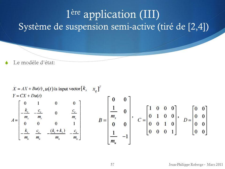 1 ère application (III) Système de suspension semi-active (tiré de [2,4]) 57 Le modèle détat: Jean-Philippe Roberge - Mars 2011
