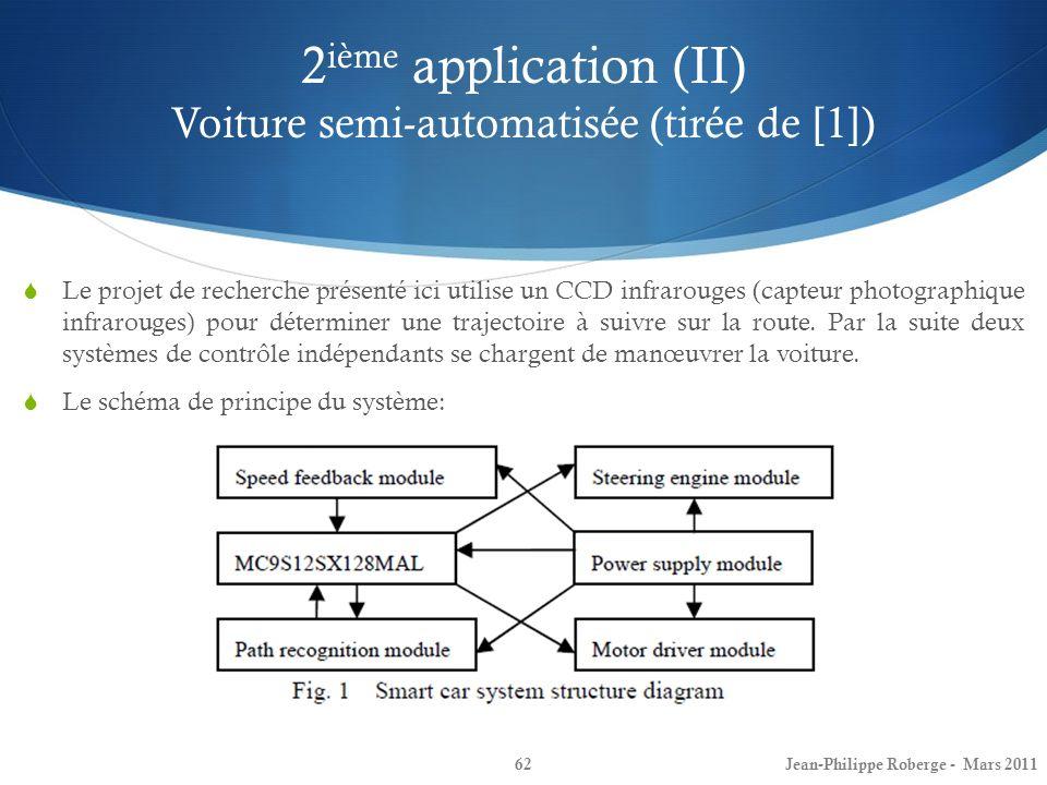 2 ième application (II) Voiture semi-automatisée (tirée de [1]) 62 Le projet de recherche présenté ici utilise un CCD infrarouges (capteur photographi