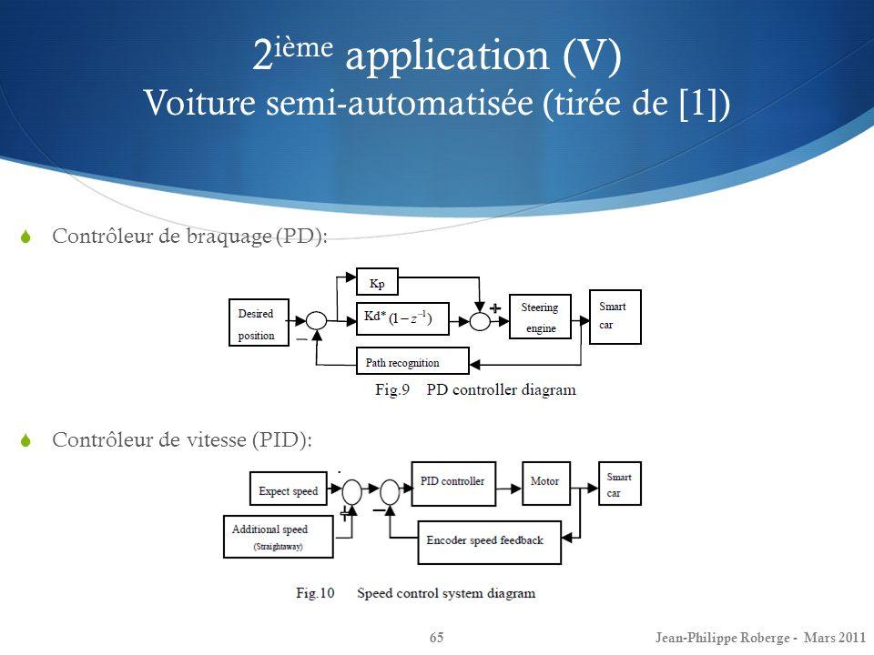 2 ième application (V) Voiture semi-automatisée (tirée de [1]) 65 Contrôleur de braquage (PD): Contrôleur de vitesse (PID): Jean-Philippe Roberge - Ma