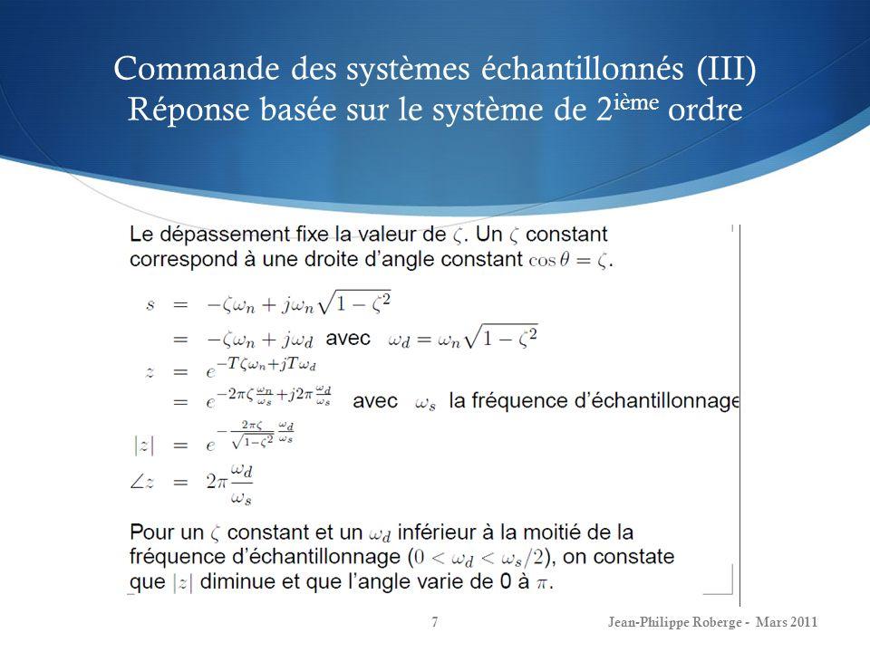 Commande des systèmes échantillonnés (III) Réponse basée sur le système de 2 ième ordre Jean-Philippe Roberge - Mars 20117