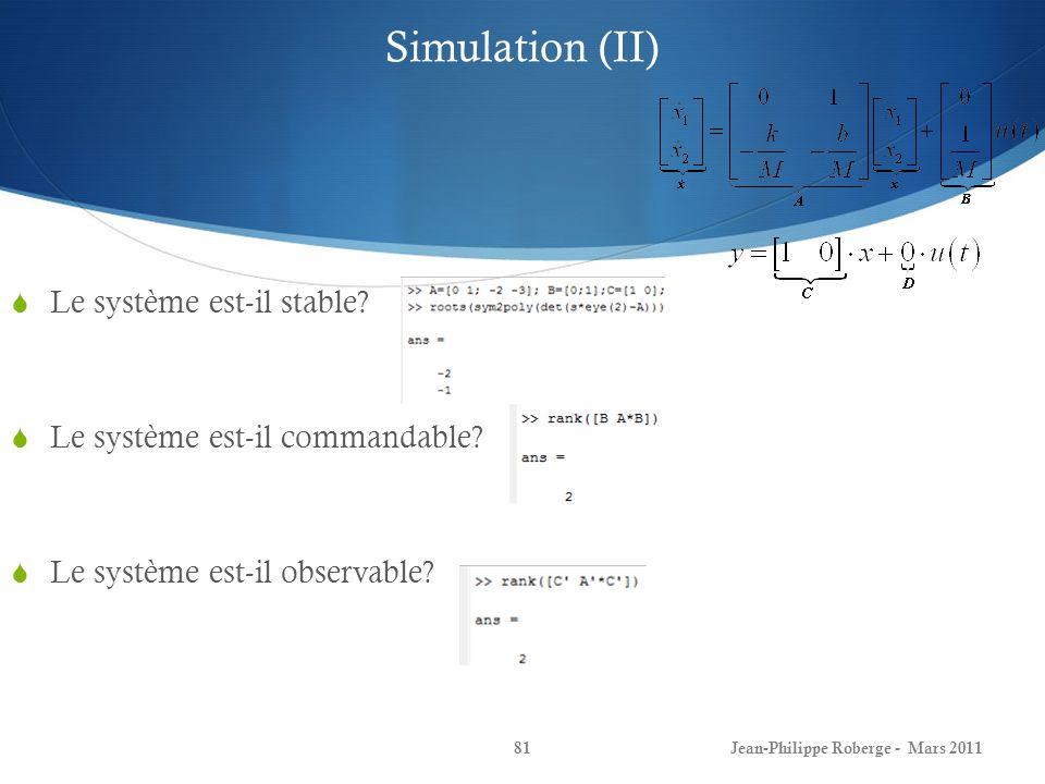 Simulation (II) Le système est-il stable? Le système est-il commandable? Le système est-il observable? Jean-Philippe Roberge - Mars 201181
