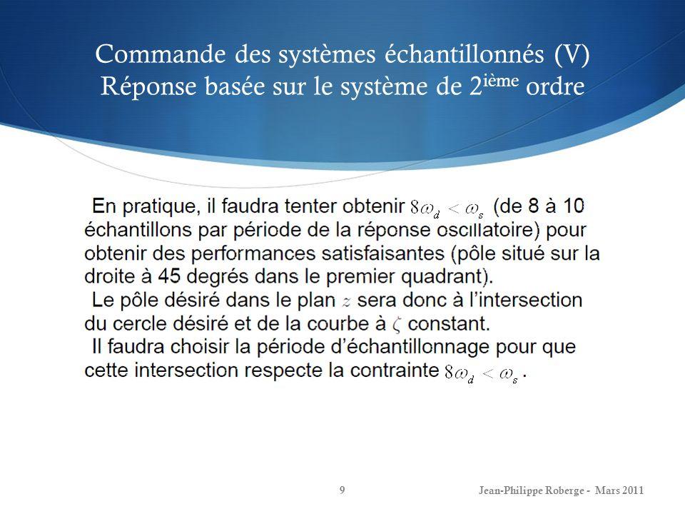 Commande des systèmes échantillonnés (VI) Exemple Jean-Philippe Roberge - Mars 201110