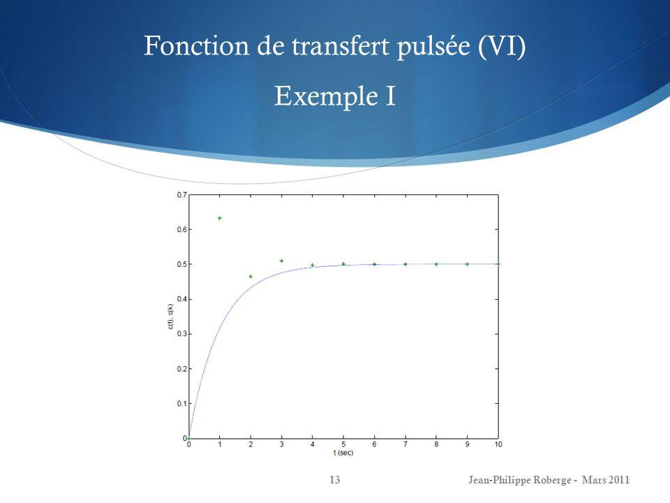 Fonction de transfert pulsée (VI) Exemple I Jean-Philippe Roberge - Mars 201113