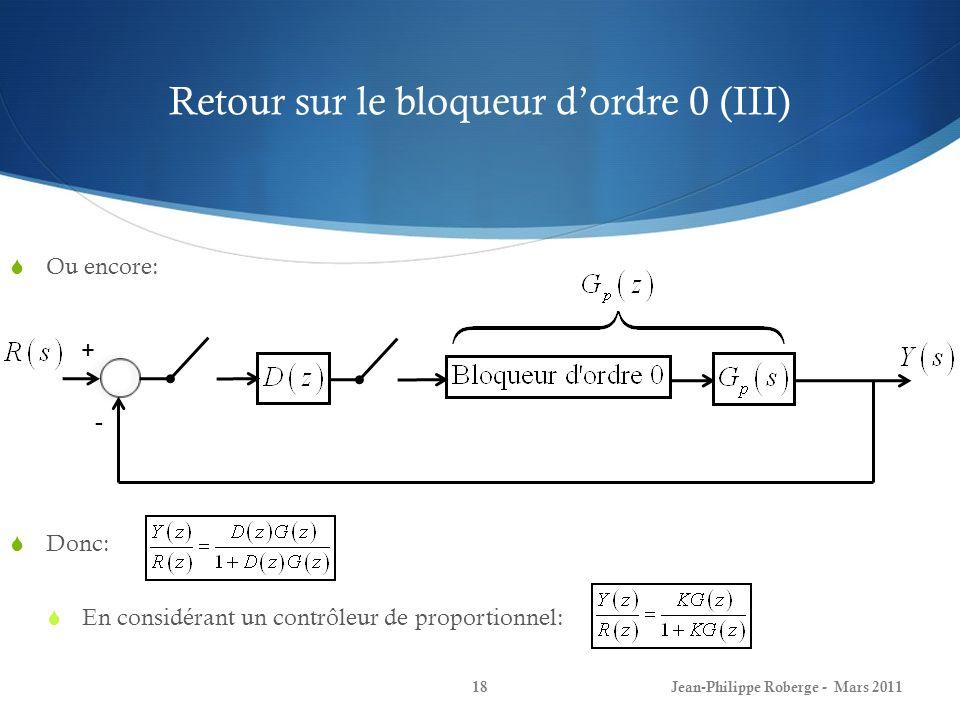 Retour sur le bloqueur dordre 0 (III) Ou encore: Donc: En considérant un contrôleur de proportionnel: Jean-Philippe Roberge - Mars 201118 + -