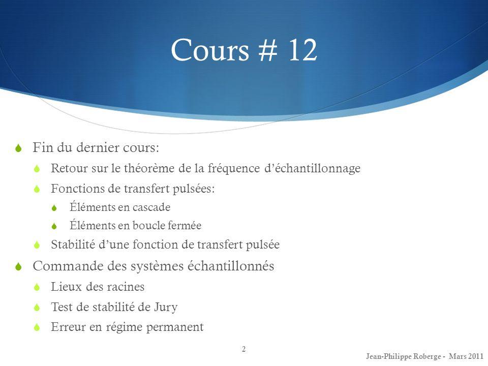 Cours # 12 Fin du dernier cours: Retour sur le théorème de la fréquence déchantillonnage Fonctions de transfert pulsées: Éléments en cascade Éléments