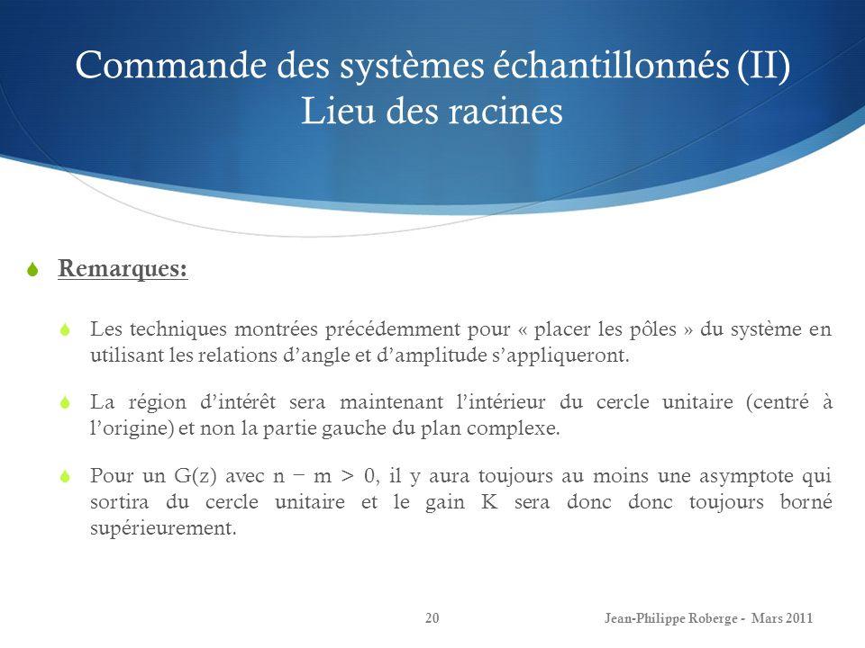 Commande des systèmes échantillonnés (II) Lieu des racines Jean-Philippe Roberge - Mars 201120 Remarques: Les techniques montrées précédemment pour «