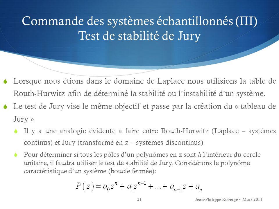 Commande des systèmes échantillonnés (III) Test de stabilité de Jury Jean-Philippe Roberge - Mars 201121 Lorsque nous étions dans le domaine de Laplac