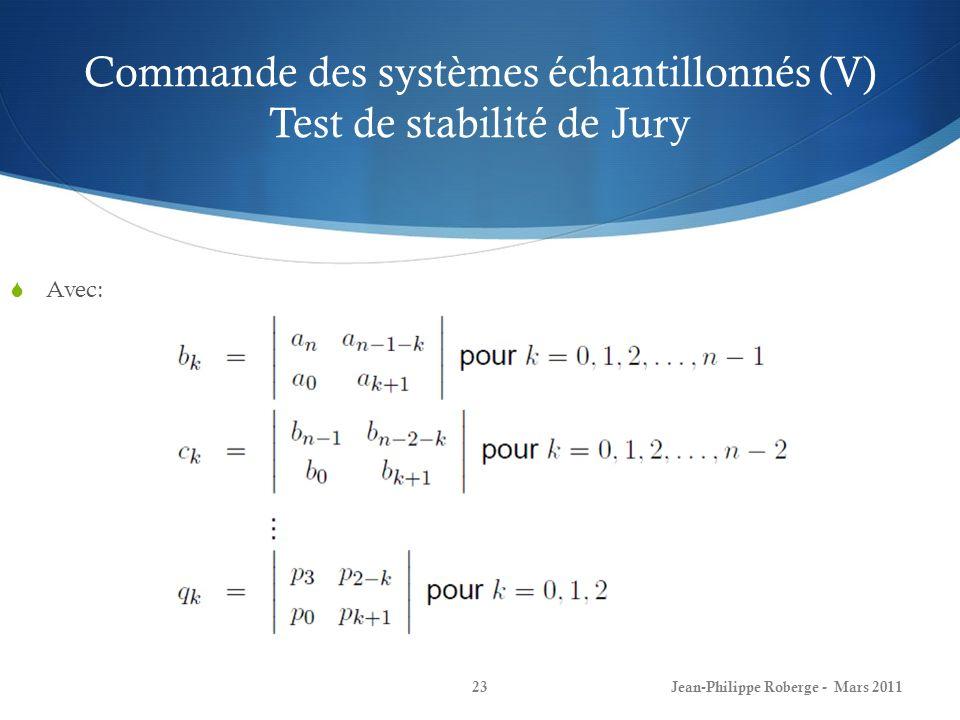 Commande des systèmes échantillonnés (V) Test de stabilité de Jury Avec: Jean-Philippe Roberge - Mars 201123