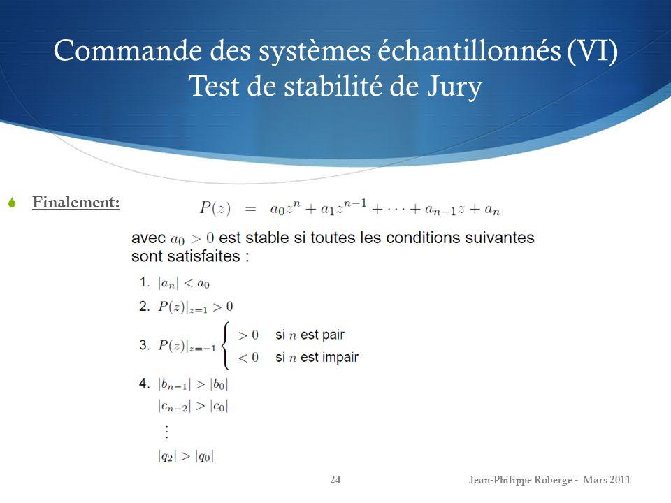 Commande des systèmes échantillonnés (VI) Test de stabilité de Jury Finalement: Jean-Philippe Roberge - Mars 201124