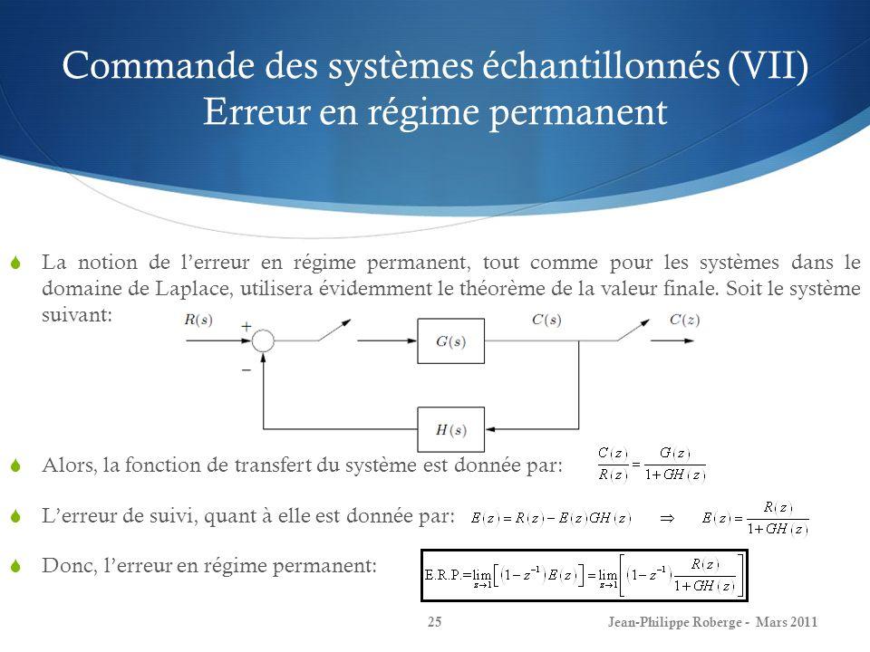 Commande des systèmes échantillonnés (VII) Erreur en régime permanent La notion de lerreur en régime permanent, tout comme pour les systèmes dans le d