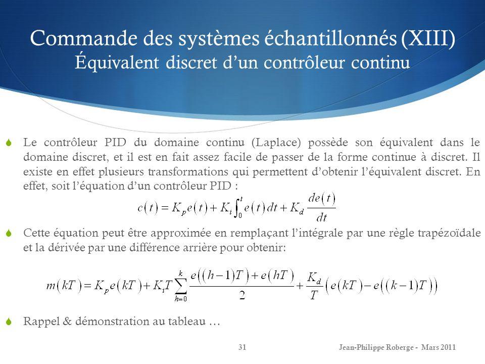 Commande des systèmes échantillonnés (XIII) Équivalent discret dun contrôleur continu Le contrôleur PID du domaine continu (Laplace) possède son équiv