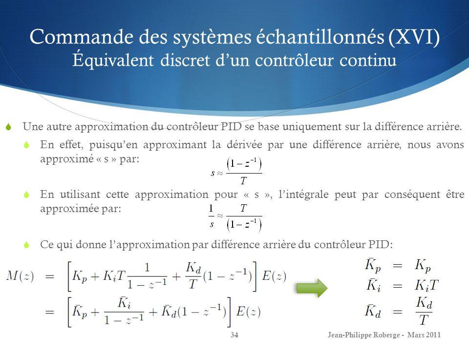 Commande des systèmes échantillonnés (XVI) Équivalent discret dun contrôleur continu Une autre approximation du contrôleur PID se base uniquement sur
