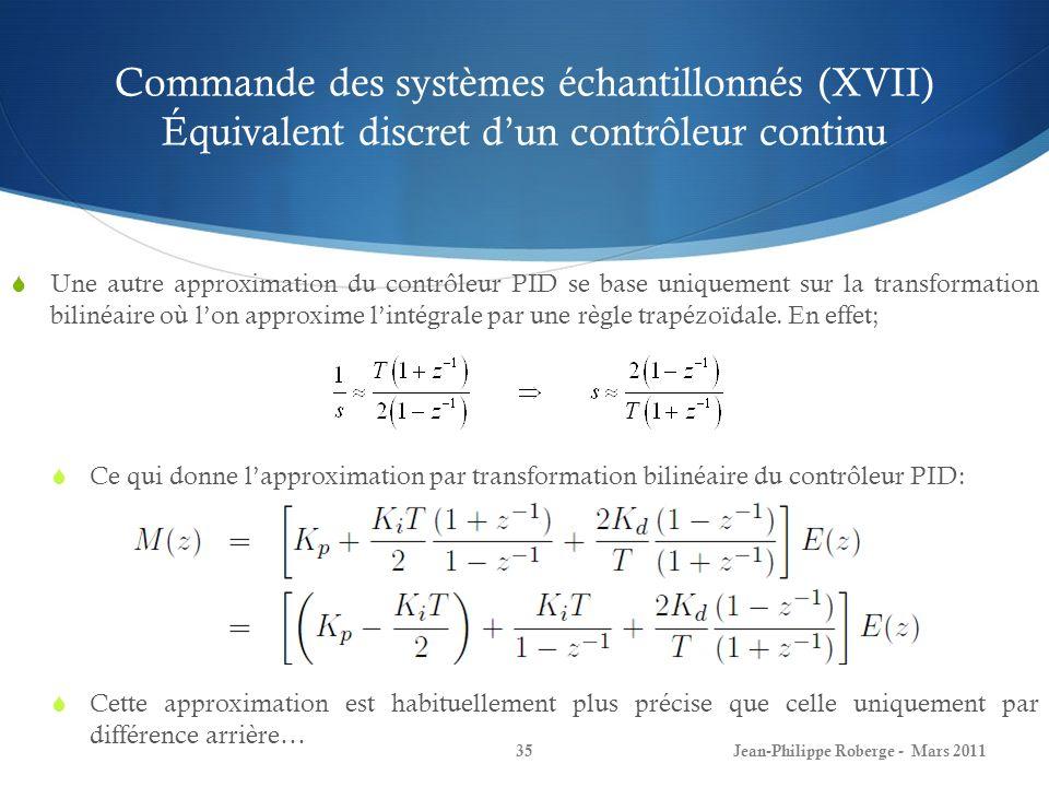Commande des systèmes échantillonnés (XVII) Équivalent discret dun contrôleur continu Une autre approximation du contrôleur PID se base uniquement sur
