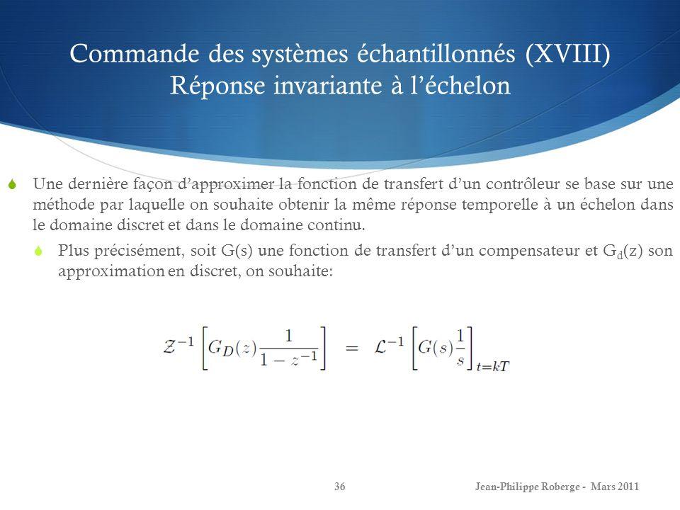 Commande des systèmes échantillonnés (XVIII) Réponse invariante à léchelon Une dernière façon dapproximer la fonction de transfert dun contrôleur se b