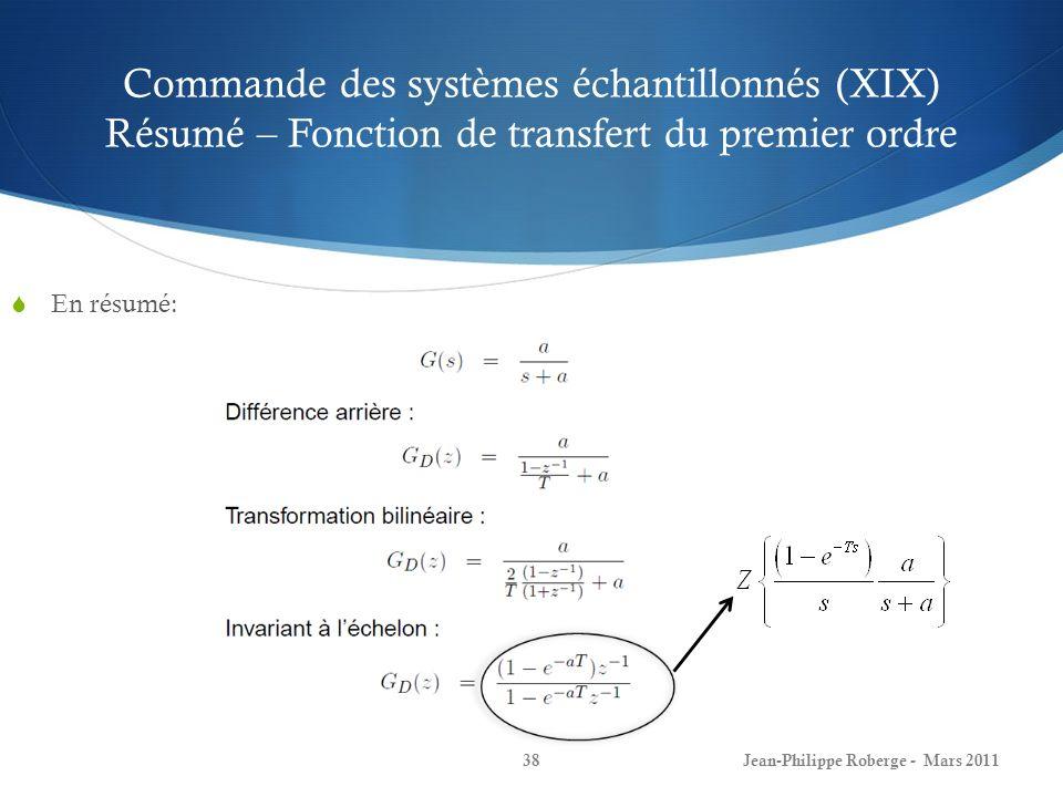 Commande des systèmes échantillonnés (XIX) Résumé – Fonction de transfert du premier ordre En résumé: Jean-Philippe Roberge - Mars 201138