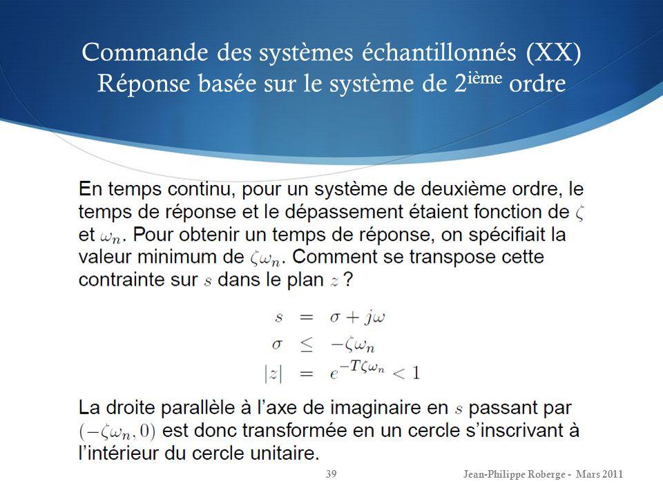 Commande des systèmes échantillonnés (XX) Réponse basée sur le système de 2 ième ordre Jean-Philippe Roberge - Mars 201139