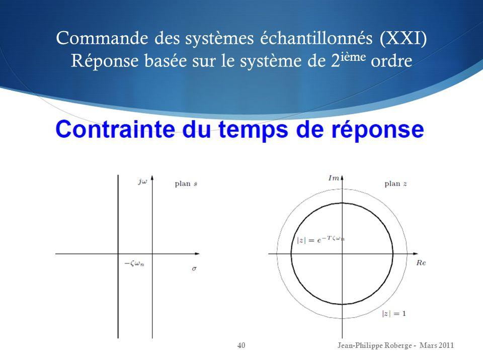 Commande des systèmes échantillonnés (XXI) Réponse basée sur le système de 2 ième ordre Jean-Philippe Roberge - Mars 201140